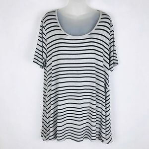 LuLaRoe Black Grey Striped Short Sleeve Tunic Top